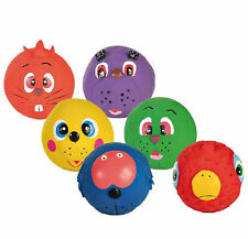 Trixie Dog Puppy Face Ball Toy Squeak Pack of 6