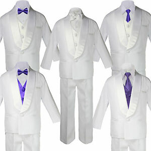 Boy Baby White Shawl Lapel Party Suit to Choose PURPLE Satin Bow Necktie Vest