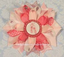 Ballet Shoes Pink White Bottle Cap Loopy Hair Bow 4""