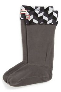 Hunter Womens Geometric Black White Original Tall Boot Socks Size M (5-7) NEW