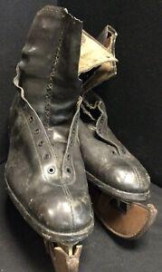 Pair Of Vintage Black Leather Ice Skates