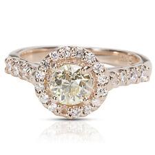 GIA Certified Old European Diamond Halo Engagement Ring 14K Rose Gold (0.94 CTW)