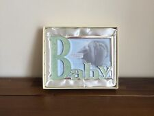 "Enamel Newborn Baby Boy Photo Frame Gift Blue 4"" x 6"""