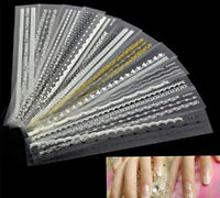 12 Mix Lace Design DIY Decal Stickers For French Nail Art Tips Decoration Pip US