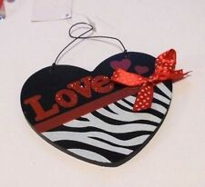 RED BLACK & WHITE ZEBRA PRINT LOVE VALENTINES DAY HANGING WOOD HEART DECORATION