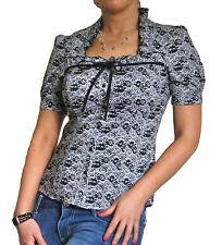 Bluse Damen Hemd Oberteile kurzärmelig Spitze Top Neu Größe 10 12 14 16 18 20