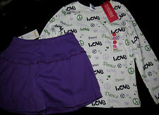 Gymboree Dance Team love peace top/purple lavender knit skort skirt NWT 5