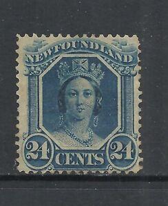 NEWFOUNDLAND SCOTT 31 MNG FINE - 1865 24c BLUE VICTORIA ISSUE   CAT $75.00
