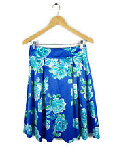 REVIEW Skirt - Vintage Retro Style Blue/Green/White Satin Floral Roses - 10/M