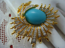 VINTAGE JOAN RIVERS FAUX TURQUOISE CABOCHON GOLD TONE RHINESTONE WAVE PIN BROOCH