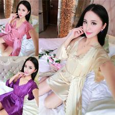 Sexy Women Summer Ice Silk Pajamas Slip Night Dress Kimono Robe Gown Set Plus SZ