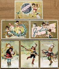 Chromo Liebig Sang. 222 ITA Ornamenti e Fanciulli Pattinatori ANNO 1888