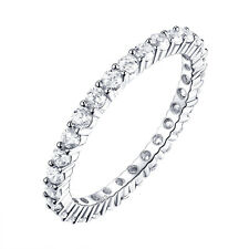 Wedding Band Eternity Ring For Women Round White Cz 925 Sterling Silver Sz 5-10