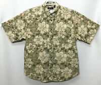 Mens Puritan Large Green Beige Floral Hawaiian Short Sleeve Button Front Shirt
