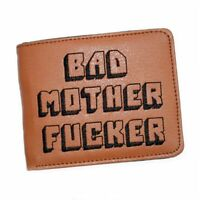 Bad Mother Print BMF Embroidered Brown Handmade Men Leather Wallet Pulp Fiction