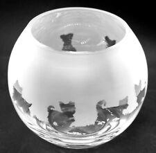 More details for yorkshire terrier frieze 16cm boxed glass bubble bowl / globe vase