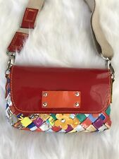 NAHUI OLLIN CANDY WRAPPER & RED PATENT LEATHER SMALL MESSENGER HANDBAG OR CLUTCH