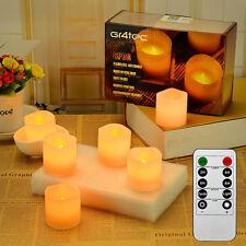 6er Set LED Kerzen aus Echtwachs mit beweglicher Flamme Fernbedienung f. Aussen