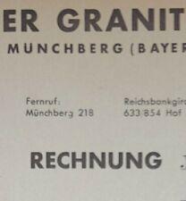 ALTE RECHNUNG MÜNCHBERG REINERSREUTHER GRANITWERKE ERWIN GOLLER CA 1947