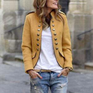 Women's Button Open Front Military Blazer Coat Retro Formal Jacket Suit Outwear