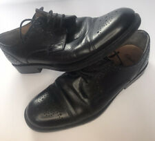 CLARKS Mens Black Leather Lace Up Brogue Shoes - UK Size 8 width G