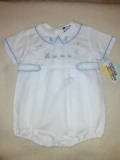 Vintage Carriage Boutique By Friedknit White Blue Train Bubble Romper 9 M Nwt