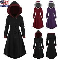 Plus Size Womens Hooded Long Sleeve Coat Jacket Winter Vintage Overcoat Outwear