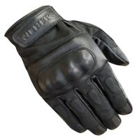Merlin Ranton wax and leather motorcycle glove - Black - All Sizes