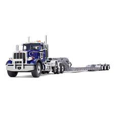1:34 First Gear *BLUE & SILVER* PETERBILT 367 Semi Truck w/Tri-Axle LOWBOY NIB