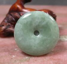 Green JADE jadeite Pendant Circle Donut jewelry cord 274963