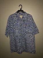 Cooke Street 2XL Mens Hawaiian Shirt Blue, White Tribal Design Honolulu