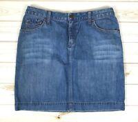 Eddie Bauer Women's Jean Skirt Size 8 Knee Length Medium Wash Denim EUC A1804