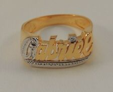 NAME RING PERSONALIZED STERLING SILVER ANY NAME *ROUND FACE* 18K GOLD PLATED USA