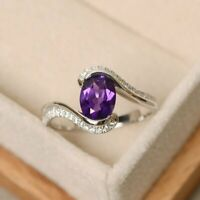 6.0Ct Oval Cut Amethyst  Sterling Silver Engagement Ring 14K White Gold Finish