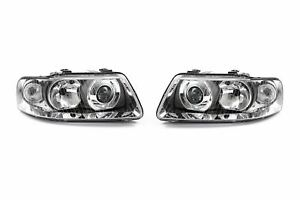 Audi A3 00-03 Chrome Headlights Headlamps Pair Set Driver Passenger Left Right