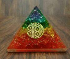 X-LG Orgon Pyramide 7 Chakra Steine Blume des Lebens Charm Orgonit Pyramide EMF