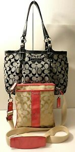 Coach F15146 Lot of 2 Leather Trim Tote Crossbody Shoulder Purse Bag Tag Charm