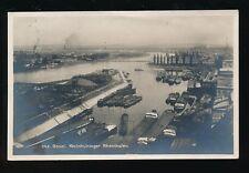 Switzerland BASEL Kleinhuninger Rheinhafen Harbour used 1930 RP PPC