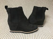 UGG PAX BLACK WATERPROOF LEATHER CHELSEA WEDGE ANKLE BOOTS SIZE 6.5 WOMENS
