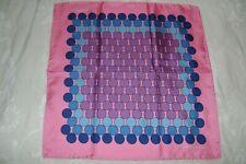 """New Macclesfield 100% silk twill pocket square 18"""" pink geometric hand rolled"""