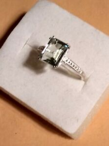 Green Amethyst   Ring   Size 7   Platinum Over Sterling Silver/Nickle Free