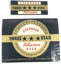 Vintage Three Star Beer Bottle Can Label Colorado Brewing Trinidad 12oz Neckband