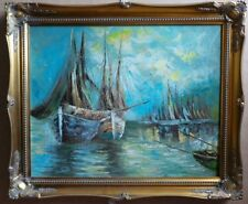 VIEW OF MARINA. OIL PAINTING ON CANVAS IN THE IMPRESSIONISTIC STYLE. XX CENTURY.