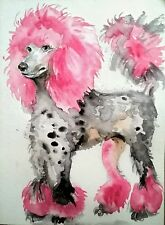 Dog art painting print  on paper, pink poodle,puppy,pet lover gift,wall art,7x5""