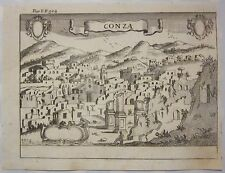 1703 CONZA Giovan Battista Pacichelli acquaforte Avellino Campania De Silva