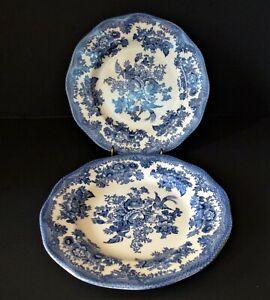 JOHNSON BROTHERS ASIATIC PHEASANT BLUE SALAD PLATES - SET OF 2