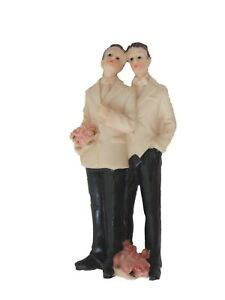 "Gay male couple white jacket tuxedo 5"" tall poly resin figurine wedding cake top"