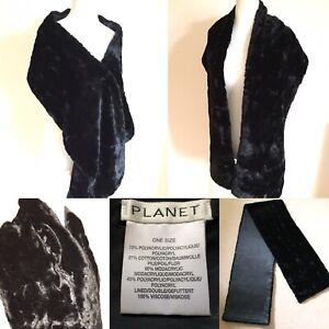 "VINTAGE PLANET Black FAUX FUR Evening Shoulder Wrap 12"" x 76"" LINED Glamour"