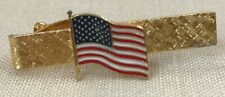 United States Flag Vintage Tie Bar/Clasp/Clip Gold Tone Men's Patriotic Jewelry