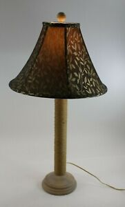 Woven Rope Table Lamp W/ Wooden Base Designer Shade and Test Bulb 35""